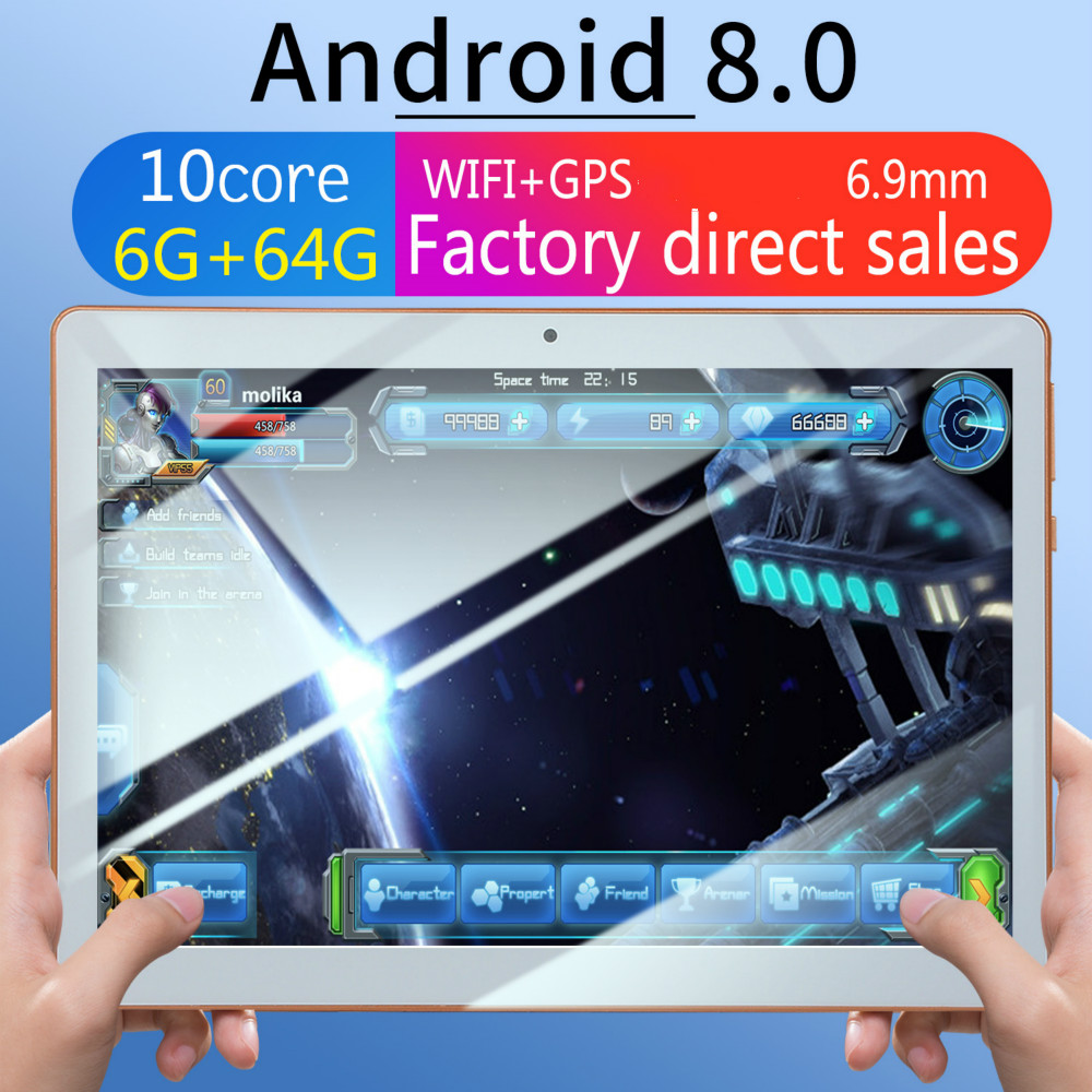 10 Inch Tablet PC 4G Android 8.0 Quad Core Super Tablets Ram 6GB Rom 128GB WiFi GPS 10.1 Tablet IPS Dual SIM GPS Tablet