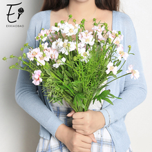Erxiaobao Fake Bellis Perennis Daisy Marguerite Artificial Flowers Bouquet Wedding Decoration Farmhouse Decor