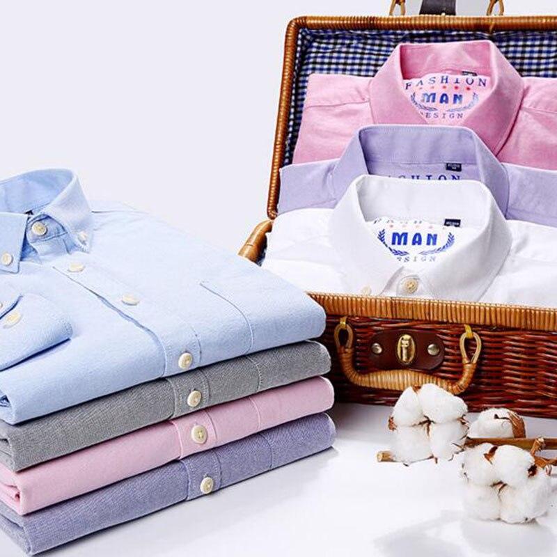Solide couleur bonbon chemises décontractées pour hommes mode simple boutonnage col rabattu Slim Fit haute qualité pur coton printemps porter