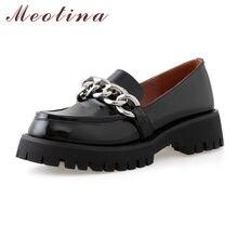 Meotina المرأة كتلة الكعوب مضخات جلد طبيعي منصة ميد الكعوب أحذية جلد البقر سلسلة مستديرة حذاء مزود بفتحة للأصابع السيدات الأسود 2021 33-43