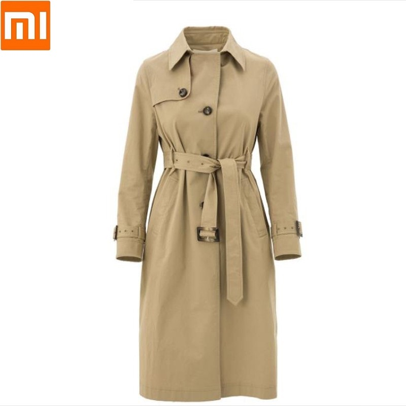Xiaomi Original PPT British Modern Long Khaki Windbreaker Elegant And Stylish Temperament Coat Female