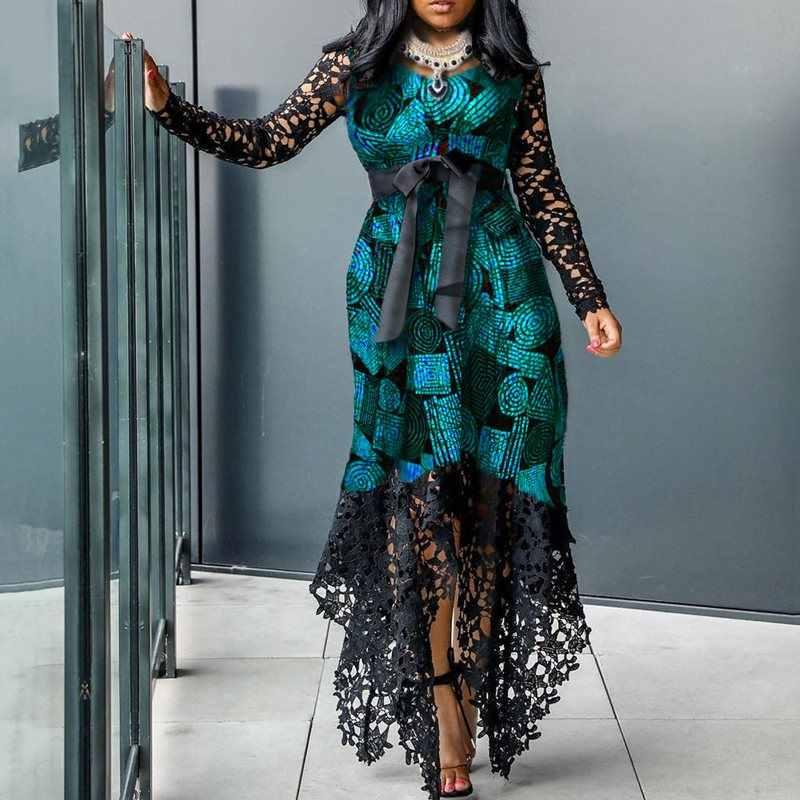 В африканском стиле элегантные размера плюс кружево вечерние платье Для женщин облегающее сексуальное вечернее платье Vestidos с длинными рукавами зеленого цвета Асимметричная длинная Макси платья