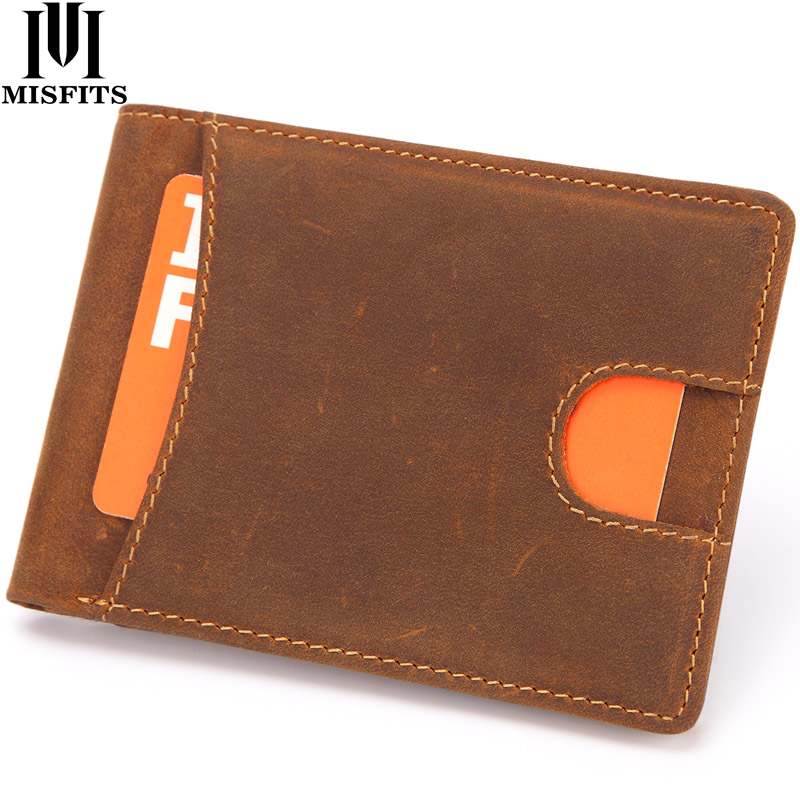 MISFITS New Mens Mini Wallet Genuine Leather RFID Thin Male Vintage Wallet Card Holder Crazy Horse Cow Leather Soft Slim Purses