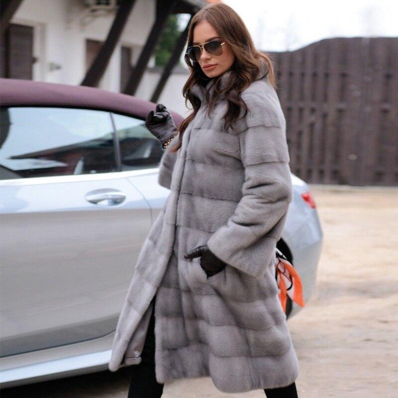FURSARCAR 2019 Fashion Long Mink Fur Coats For Women Real Fur Jackets Overcoats Warm Stand Collar Nature Mink Outercoats Winter