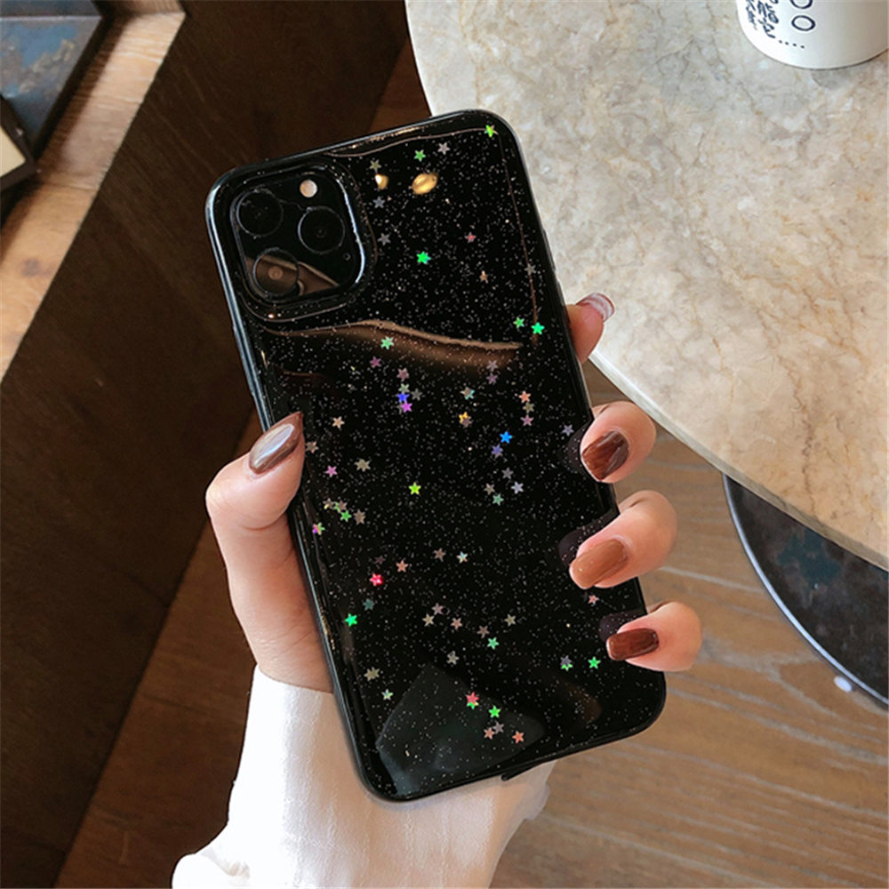 H6bfd28ffc3294d10a11fd7c7fd5144874 - Ottwn Bling Stars Glitter Soft TPU Phone Case For iPhone 11 Pro X XR XS Max 7 8 6 6s Plus SE 2020 Transparent Powder Back Cover