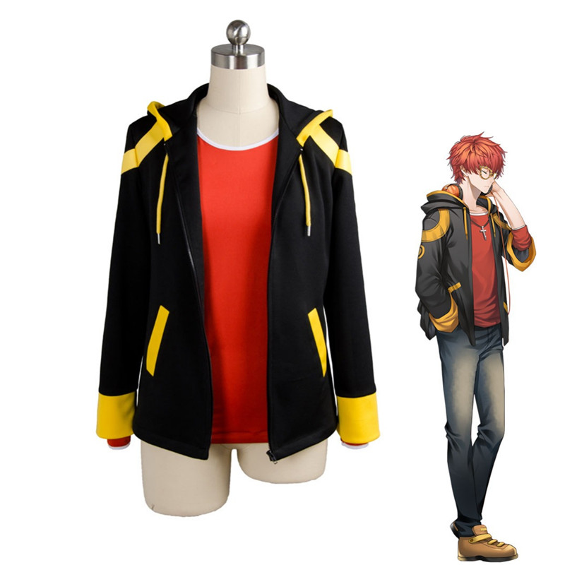 Anime Mystic Messenger Cosplay Costume 707 Saeyoung Luciel Choi Outfit Halloween Party Makeup Costumes Hooded Coat T Shirt