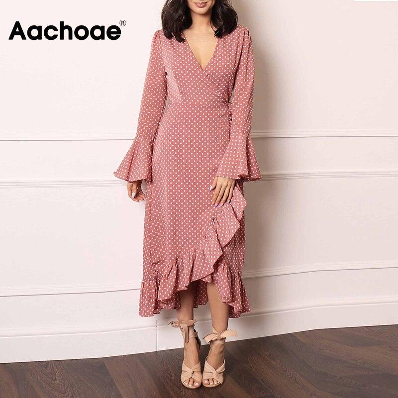 Aachoae Elegant V Neck Polka Dot Women Maxi Dress 2020 Flare Sleeve Wrap Split Party Dress Long Ruffle Casual Dresses Robe Femme