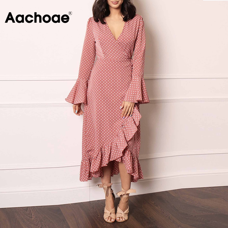 Aachoae Elegant V Neck Polka Dot Women Maxi Dress 2020 Flare Sleeve Wrap Split Party Dress Long Ruffle Casual Dresses Robe Femme