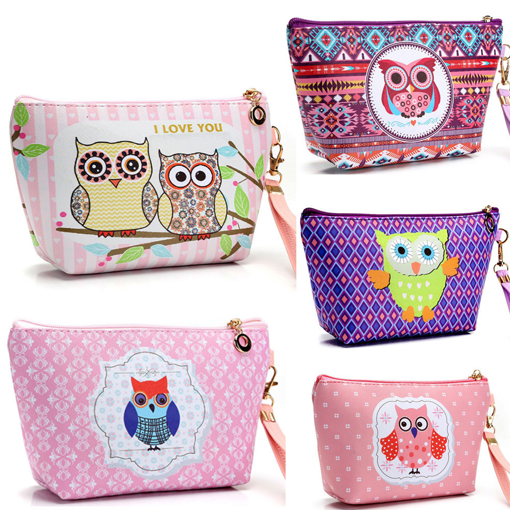 Women Neceser Make Up Bag Waterproof Laser Cosmetic Bags Owl Cosmetic Case Pouch Zip Toiletry Organizer Travel Makeup Clutch Bag