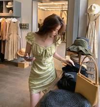 Bornladies verão moda rendas hubble-bolha manga longa flor quebrada alta espera estilo kroean vestidos femininos