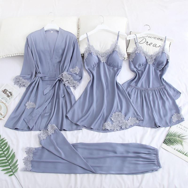 5PCS Satin Robe Set Sexy Bride Bridesmaid Wedding Bathrobe Suit Rayon Women Loose Kimono Gown Sliky Lounge Sleepwear Nightgown