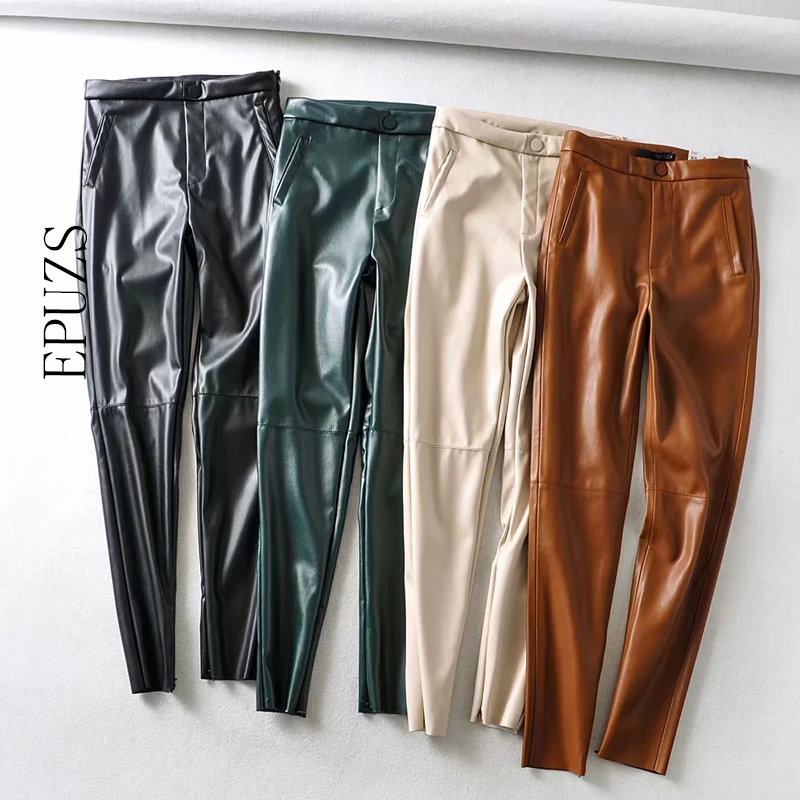 Fashion Green Black Pu Leather Pants Women Skinny Joggers Streetwear PU Pencil Trousers Casual Pantalon Femme 2020