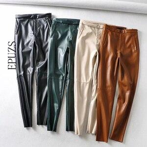 Fashion green Black pu leather pants women skinny joggers streetwear PU pencil trousers casual pantalon femme 2020
