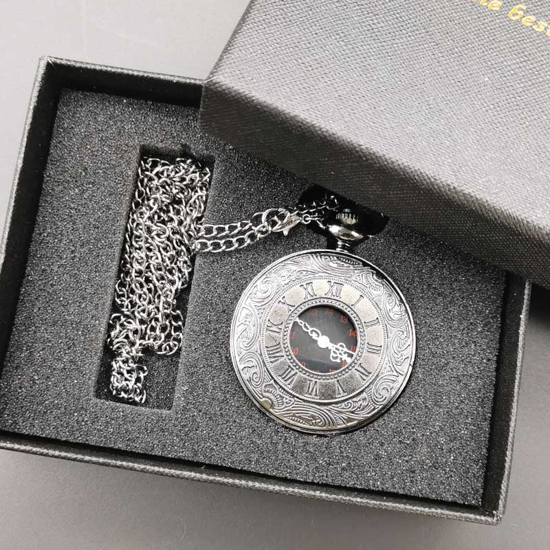 New Vintage Quartz Charm Black Roman Number Steampunk Pocket Watch Necklace Pendant With Gifts Box For Men Women