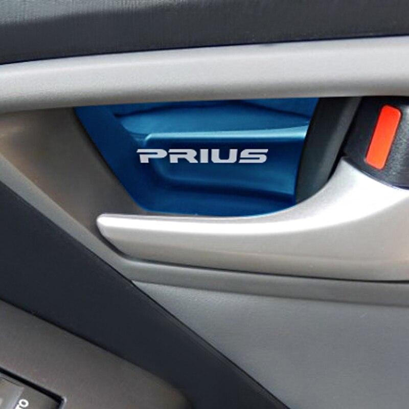 4 قطعة الفولاذ المقاوم للصدأ سيارة الداخلية مقبض الباب حلية ملصق لتويوتا بريوس 30 اكسسوارات السيارات التصميم