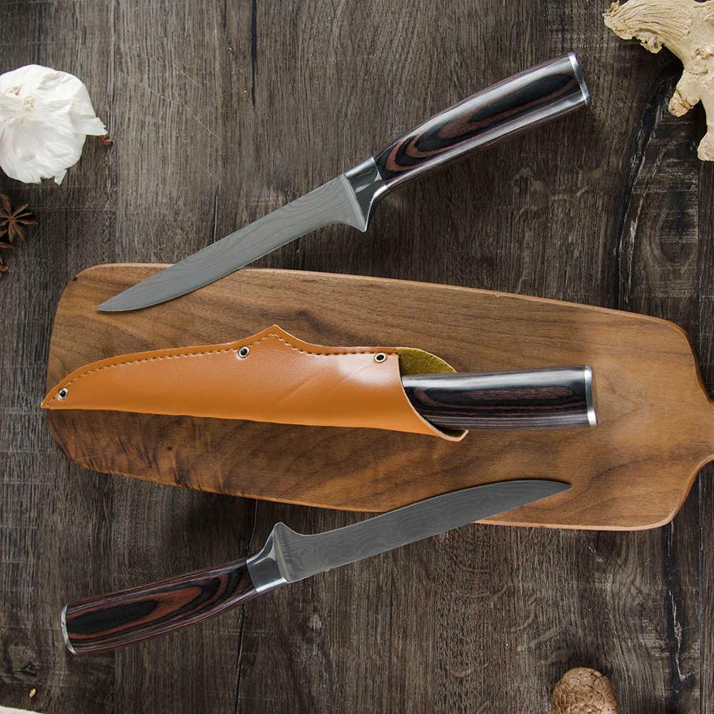 Sowoll 5.5 Cal ze stali nierdzewnej odkostnianie krojenie nóż szefa kuchni nóż do skóry pokrywa Damascus wzór ostrza nóż szefa kuchni narzędzia kuchenne