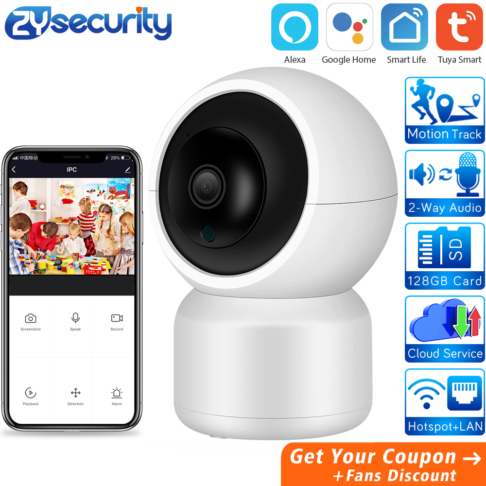 Tuya Smart IP Camera Works With Alexa Home Security Wireless Camera Auto Tracking Surveillance Camera CCTV Cloud PTZ Camera LAN