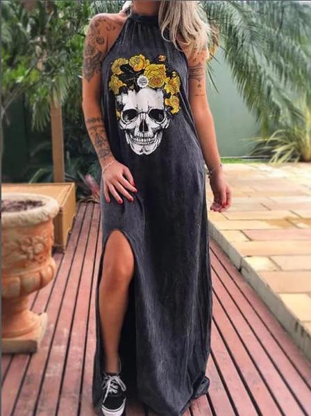 Summer Dresses Women Punk Style Loose Halter Neck Sleeveless Skull Print Female Shirt Dress Street Side High Split Flower Print 21