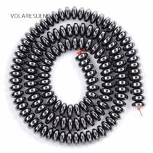"Black Rondelle Hematite Stone Natural Loose Beads 15"" Strand Pick 6x3mm Spacer For Charm Bracelte Necklace Jewelry Making"