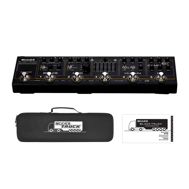MOOER BLACK TRUCK 6 in 1 Combined Guitar Pedal Compressor +Overdrive +Distortion + EQ +Modulation +Delay/Reverb Built in Tuner