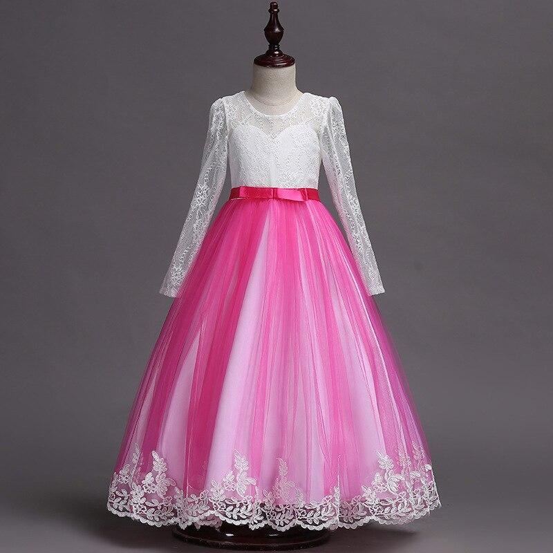 Europe And America Children Wedding Dress Girls Three-quarter-length Sleeve Lace Princess Dress Performance Birthday Tailing Puf