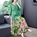 ZUOMAN 5XL Plus Size Loose Mulberry Silk Maxi Sundress 2021 Summer Casual Floral Boho Beach Midi Dresses Elegant Bodycon Party V