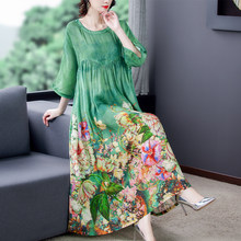 ZUOMAN 5XL Plus Size Loose Mulberry Silk Maxi Sundress 2021 Summer Casual Floral Boho Beach Midi Dresses Elegant Bodycon Party V