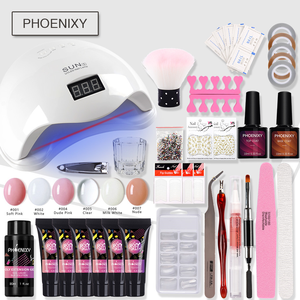 Complete Polygel Nail Kit With 48W LED Lamp Hard Jelly Builder Gel Full Decorations Art Tool Extension Gel Kit For Manicure Set