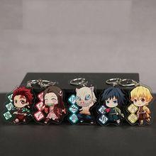 Wholesale Japanese Anime Demon Slayer Kimetsu no Yaiba Cosplay Acrylic Keychain Keyring Phone Pendant Cute Gift Full 5pcs Set недорого