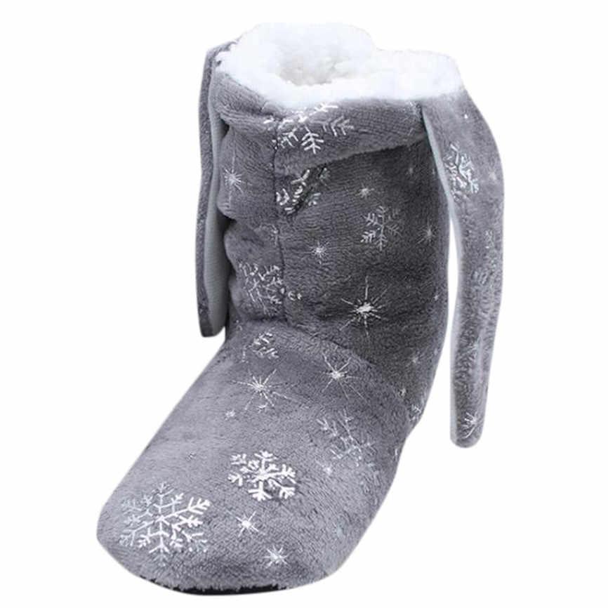 Ủng Mùa Đông Nhà Dễ Thương Bông Tuyết Giày Boot Casual Nữ Mùa Đông Phẳng Bông Vải Bông Tuyết Tai Nữ Ủng 019 A9
