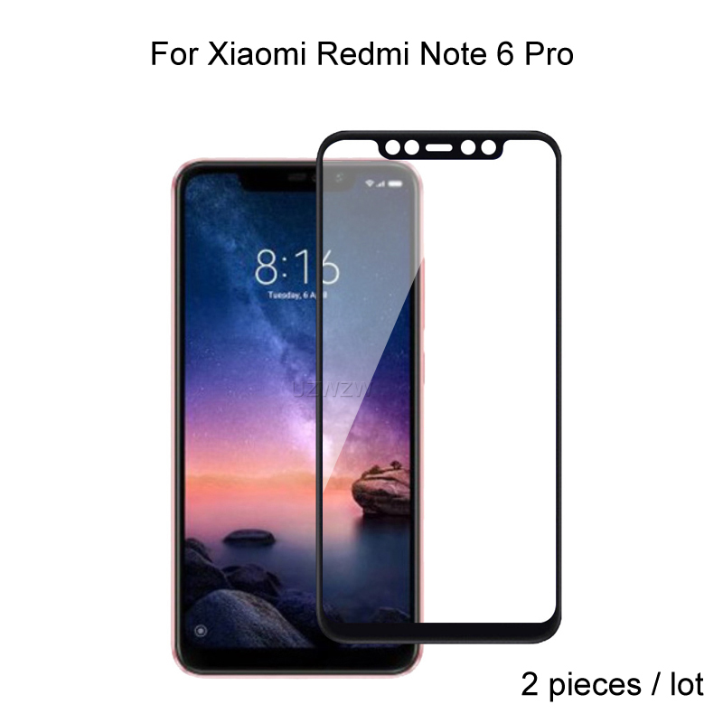 2pcs Full Cover Tempered Glass For Xiaomi Redmi Note 6 Pro / Redmi Note 6 Screen Protector Protective Glass Film(China)