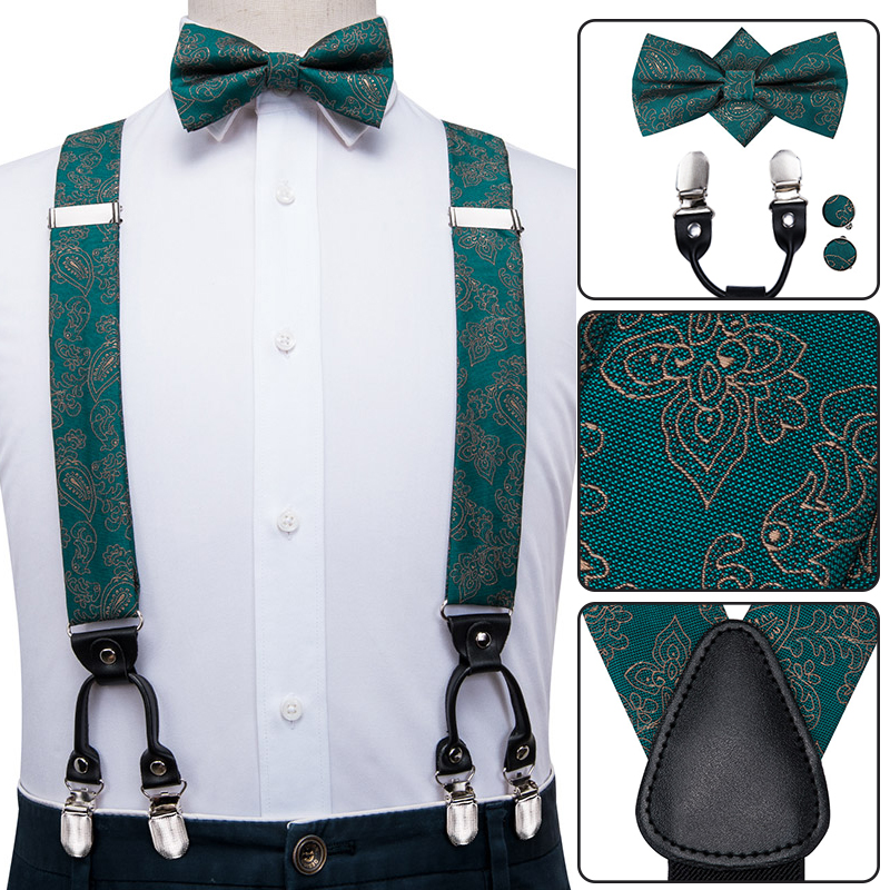 BD-3023 Hi-Tie Silk Adult Men's Suspenders Set Leather Metal 6 Clips Braces Fashion Green Paisley Elastic Wedding Suspenders Men