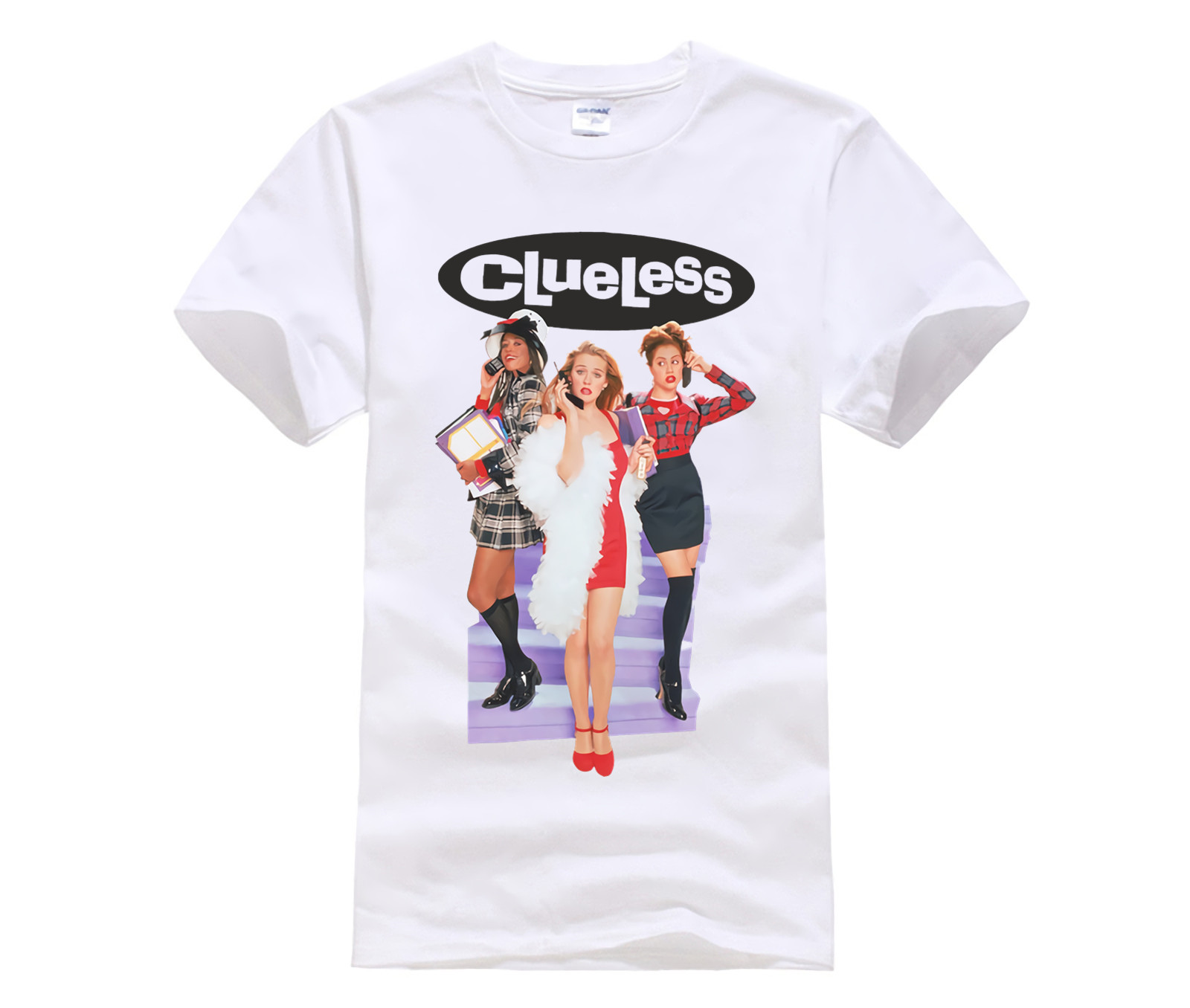 Latest Fun T-shirt Top Casual Wear Clueless white t shirt high school movie 1995 Amy Alicia Brittany Murphy