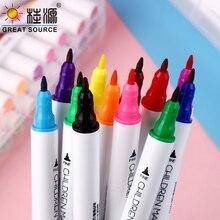24Colors Double-head Oily Marker Fine Mark Pen Small Head Hook Line Pen Multi-Pens (8 sets)