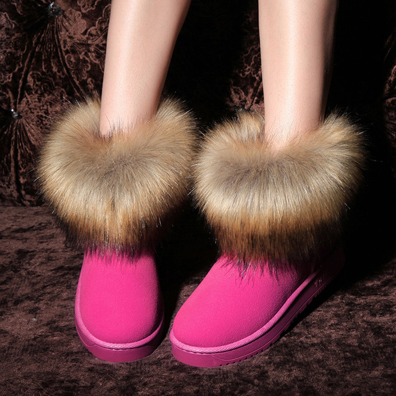 Europe Style Classic Waterproof Winter Snow Boots Suede Leather Faux Fur Pink Ankle Boots For Women Red Slip On Female Shoes