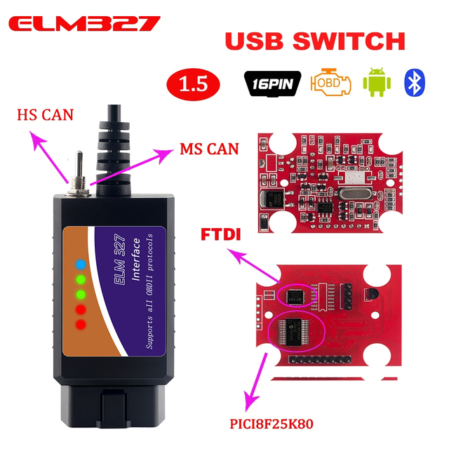 PIC1825K80 ELM327 USB V1.5 For Ford FTDI chip with switch HS/MS OBD 2 CAN  For Forscan car diagnostic Tool & elm 327 usb Version