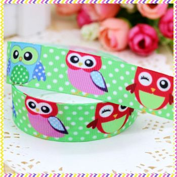DHK 7/8'' 5yards owl printed grosgrain ribbon headwear hair bow diy party decoration OEM Wholesale 22mm E831 image
