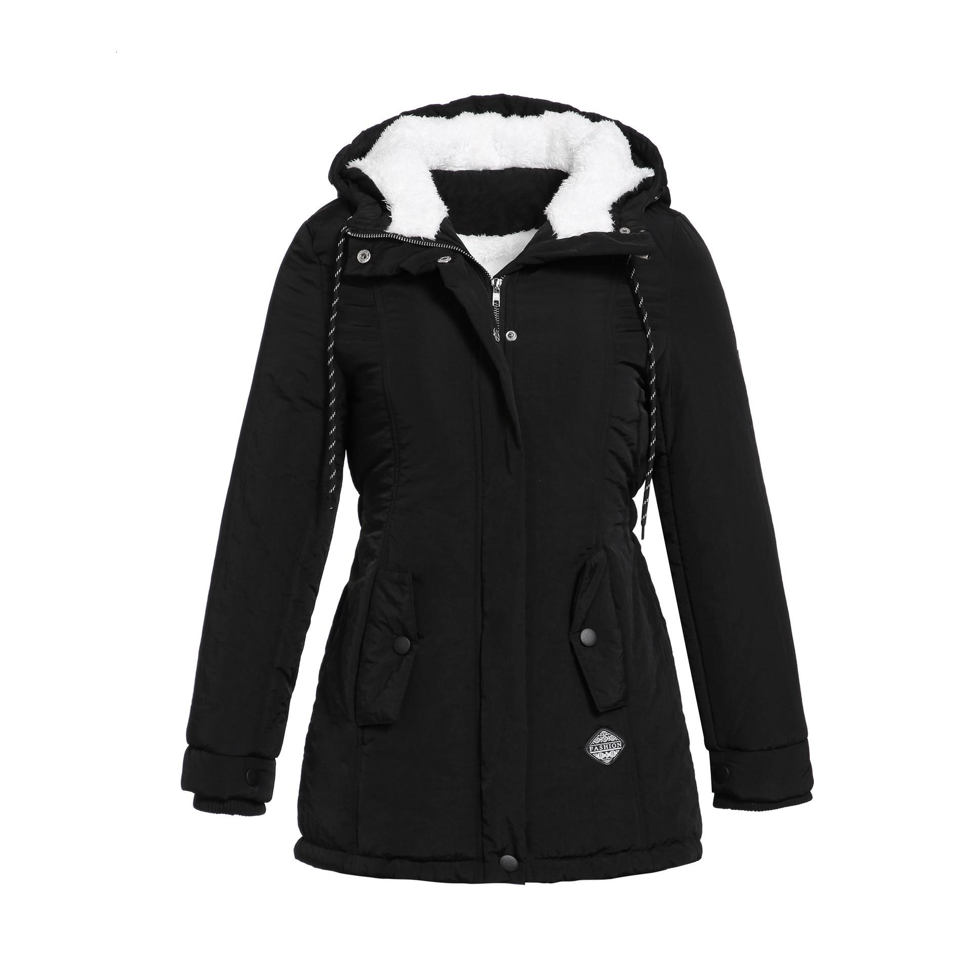 RICORIT Women Parkas Winter Jacket Hooded Thick Cotton Plus Size Warm Female Coat Fashion Mid Long Wadded Coat Jacket Outwear