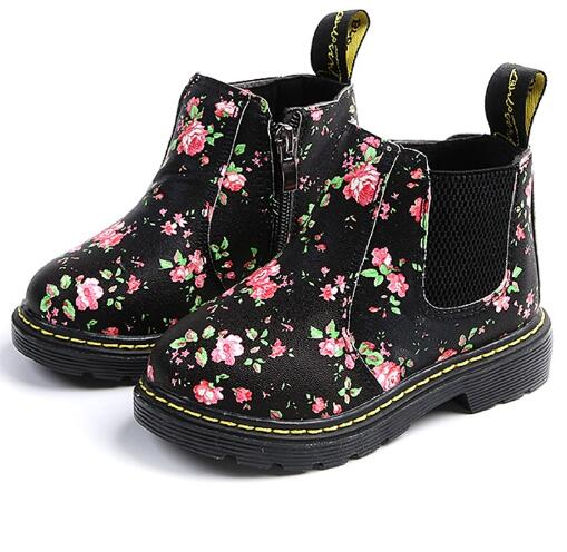 Fashion Printing Children Shoes Girls Boots PU Leather Cute Baby Boots Ankle Kids Girl Martin Shoes Size 21-36 Running Shoes