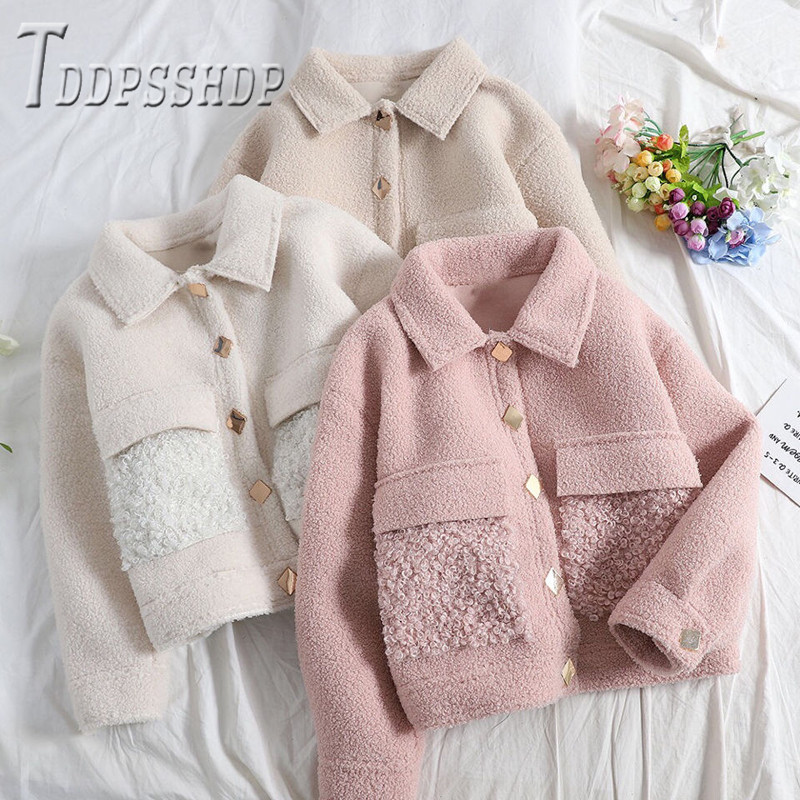 Imitation Lambswool Short Style Women Coat 2019 New Easy To Match Sweet Female Jacket