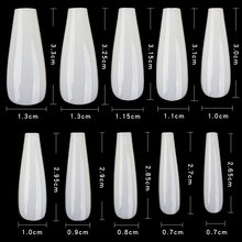 600 шт чистое натуральное длинные ногти балерины с 10 Размеры