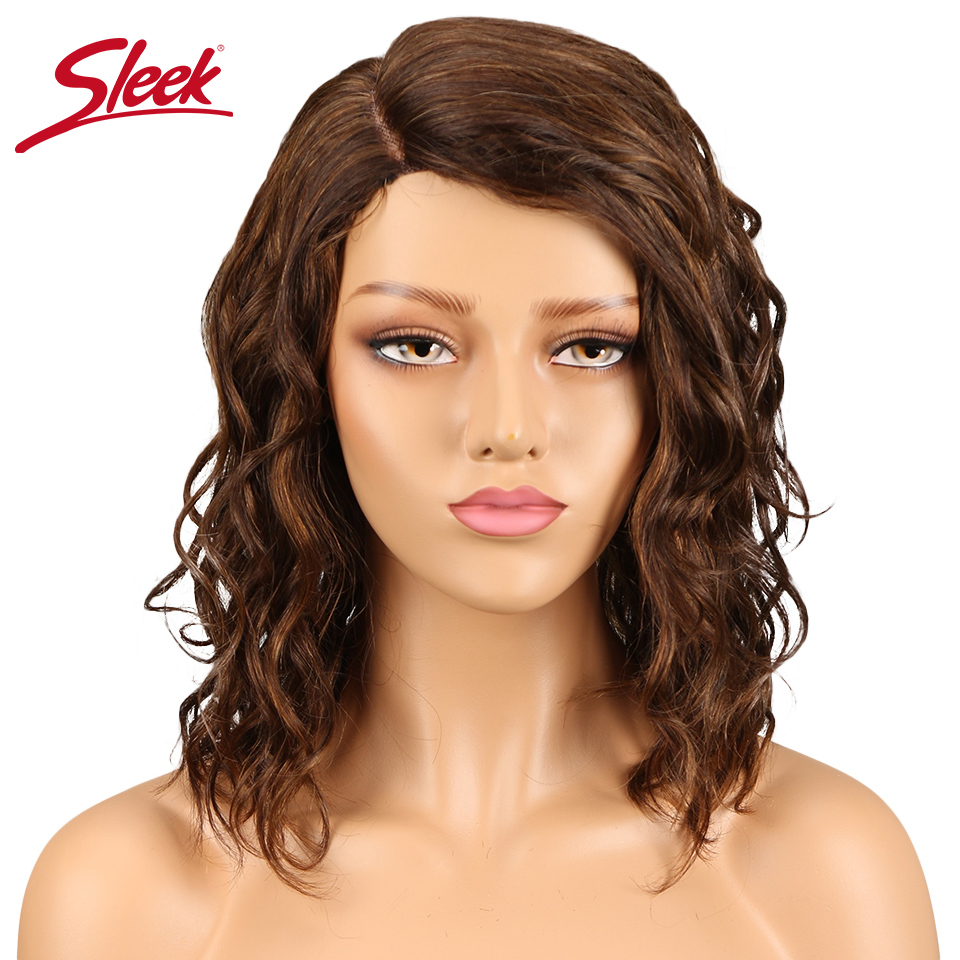 Sleek Indian Curly Human Hair Wigs L Part Lace Wigs Ombre Color 27# Red And Pian Color P4/30# F2/33# 100% Perruque Cheveux Human