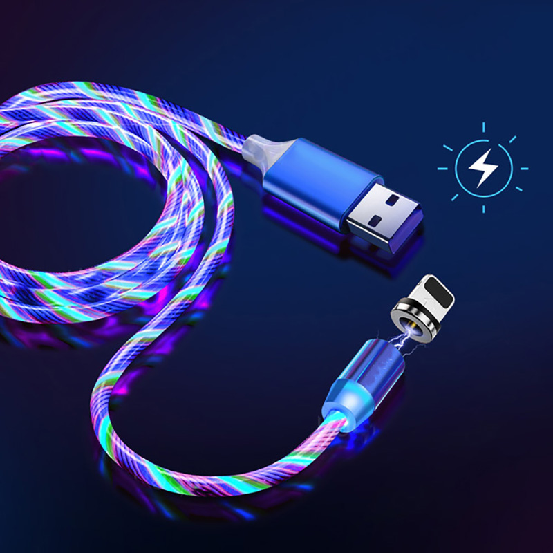 2m 1m Magnetic Charge Cable For iphone Flowing Glow Fast Charging Cable Lighting Micro USB Cable LED Magnet Charger Type C Cord 1