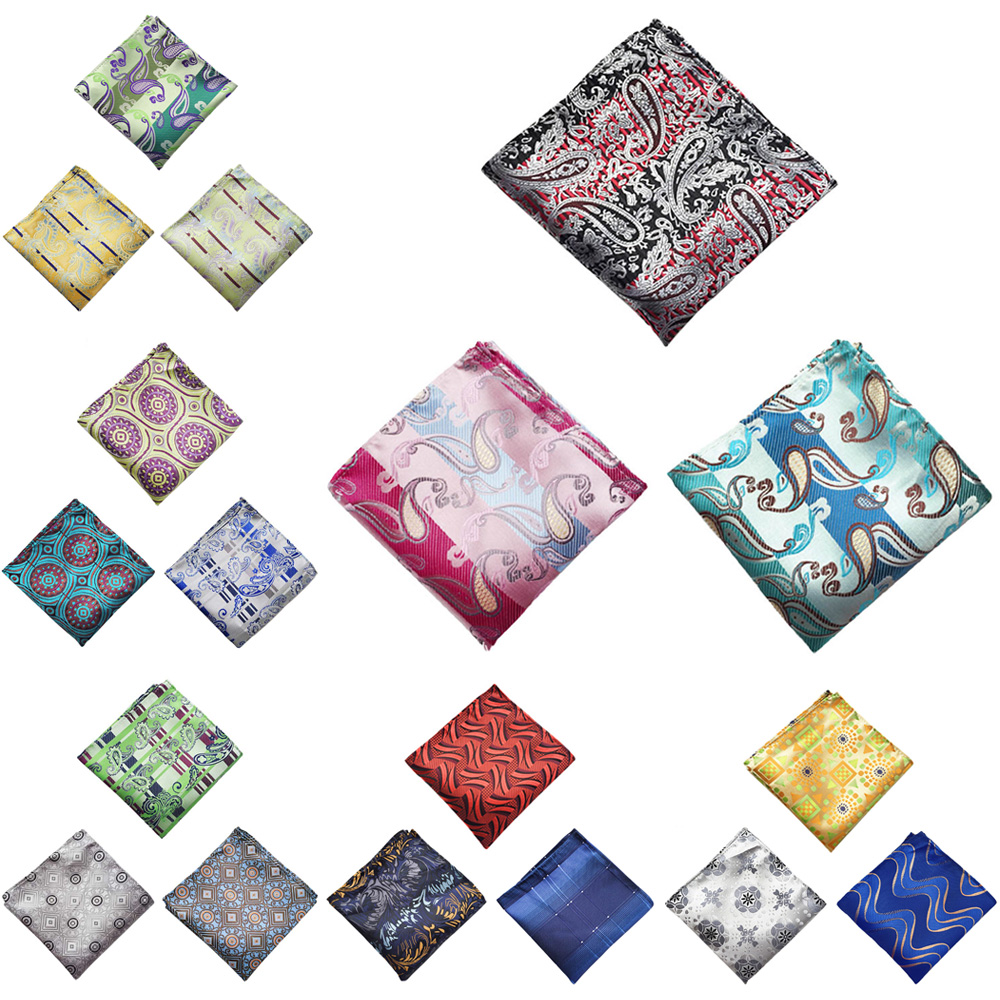 3 Packs Men's Colorful Fashion Paisley Floral Pocket Square Wedding Handkerchief BWTHZ0364