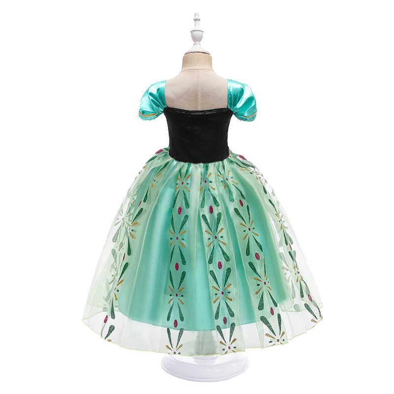 Anna Gaun untuk Gadis Cosplay Snow Queen Putri Kostum Anak-anak Musim Panas Pakaian Anak Ulang Tahun Fancy Menyamar dan Wig