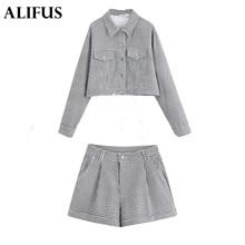 Moda Za Coat + Pants Vintage Ladies Plaid Blazer manga larga suelta corto traje chaqueta mujer blazers mujer Zaraing