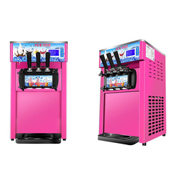Pink color table top mini soft ice cream making vending machine 3 Flavors Ice Cream Maker for home, food truck to use