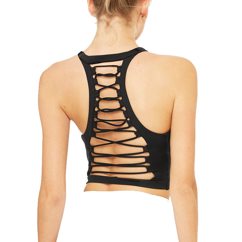 Sexy Cross Strap Backless High-elastic Shockproof Yoga Top With Built In Bra Quick Dry Slim Gathering Long Sports Bra
