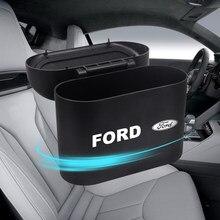 Lata de lixo do carro interior organizador caixa de armazenamento saco de lixo do carro imprensa titular para ford fiesta ecosport mk2 mk3 mustang foco 2 3