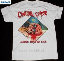 Cannibal Corpse Hammer Smashed Face Death Metal Chris Barnes New White T Shirt Men Short Sleeve Tee 2019 New Arrival Men T Shirt(China)